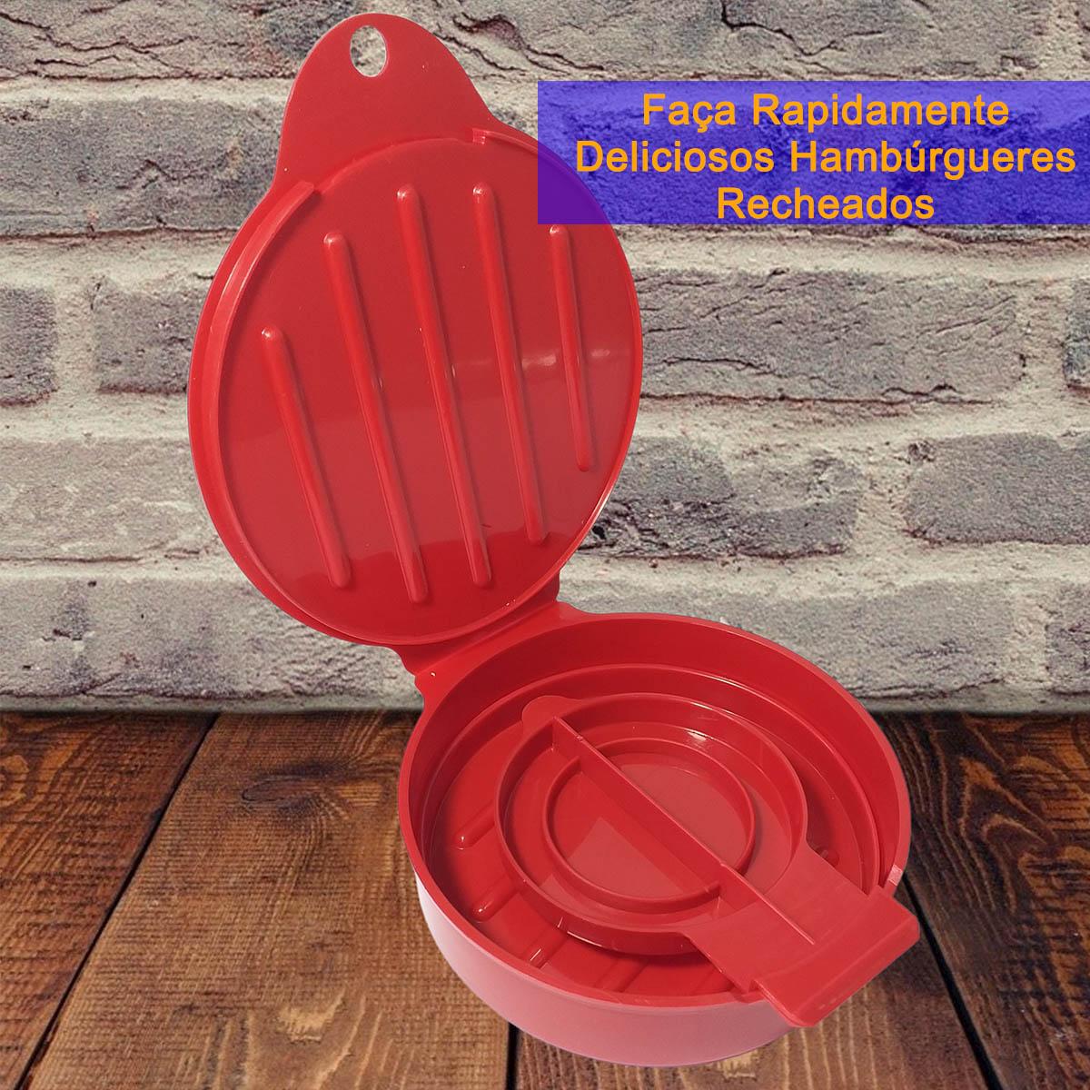 Forma para Hambúrguer Recheado Plasútil   Kit 2 Formas