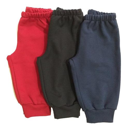 KIt 3 Calças de Moletom Bebê Cores Vermelho, Preto e Azul Marinho