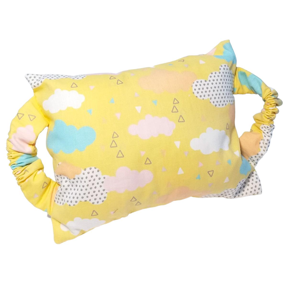 Kit Bebê 3 Peças Estampa Amarelo Nuvens | Bolsa Térmica Cólicas, Toalha de Boca e Protetor de Porta