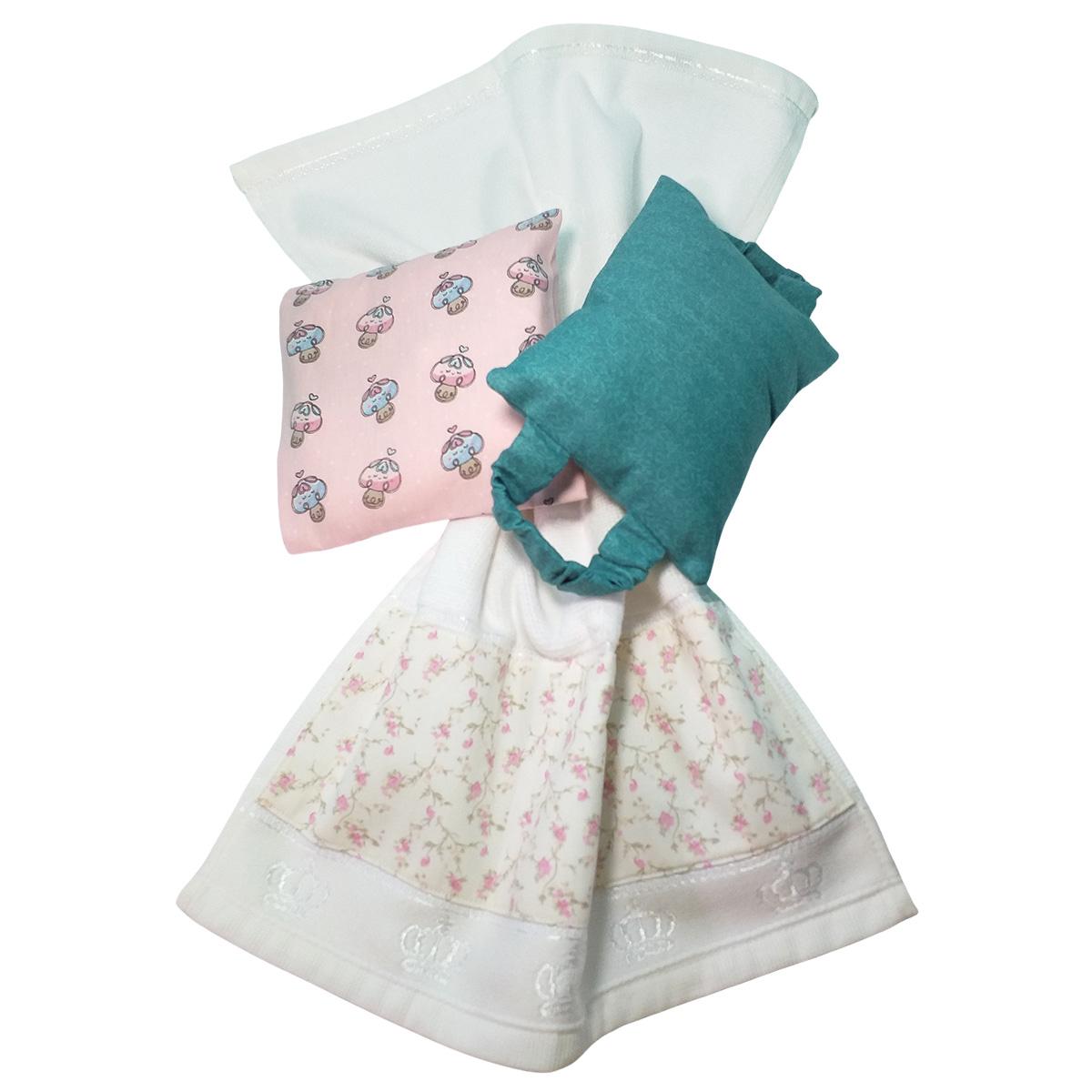 Kit Bebê 3 Peças Estampa Cogumelo e Flores   Bolsa Térmica Cólicas, Toalha de Boca e Protetor de Porta