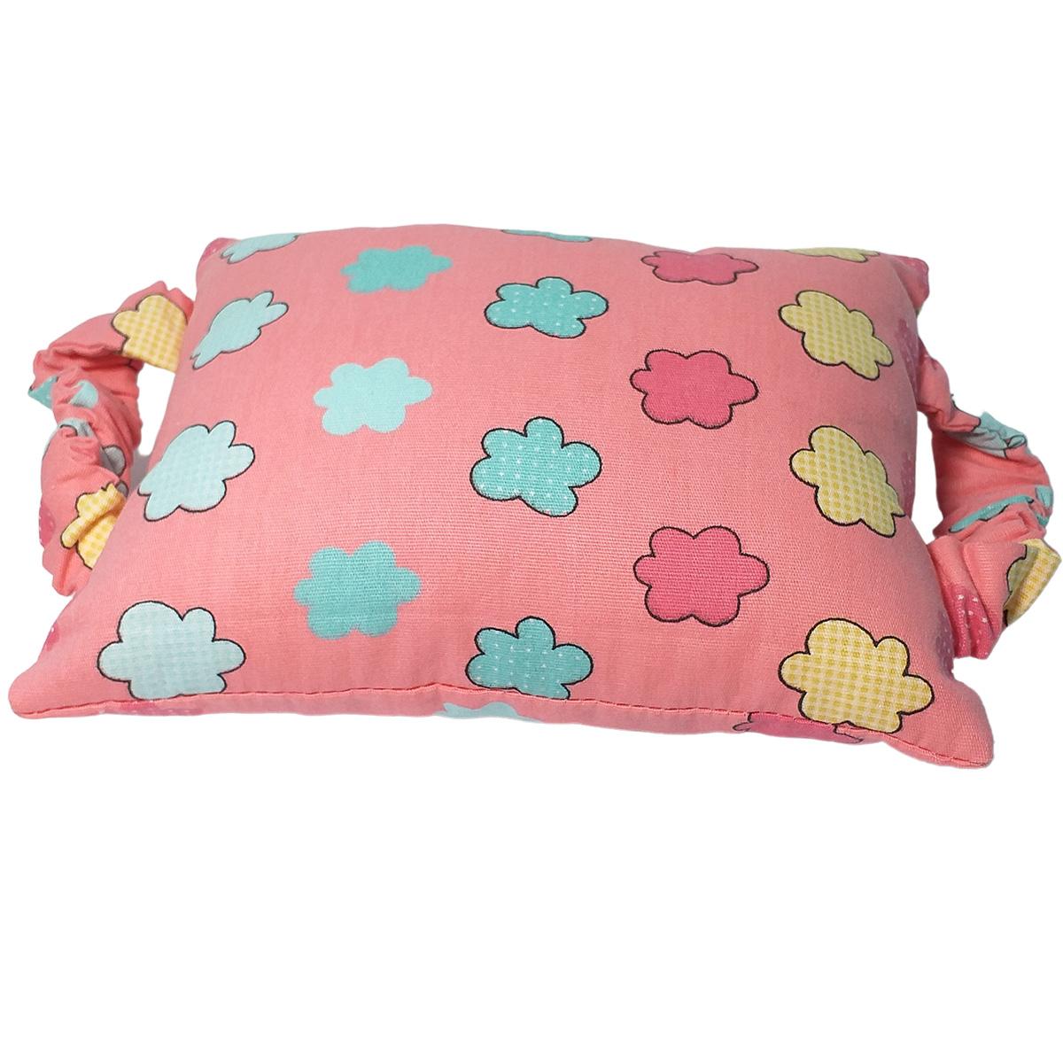 Kit Bebê 3 Peças Estampa Rosa com Nuvens| Bolsa Térmica Cólicas, Toalha de Boca e Protetor de Porta