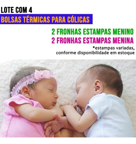 Lote com 4 Bolsas Térmicas para Cólica em Bebê - Estampas Fem. e Masc.