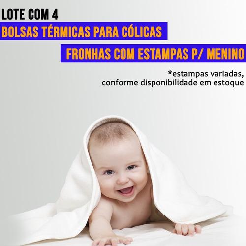 Lote com 4 Bolsas Térmicas para Cólica em Bebê - Estampas Masculinas