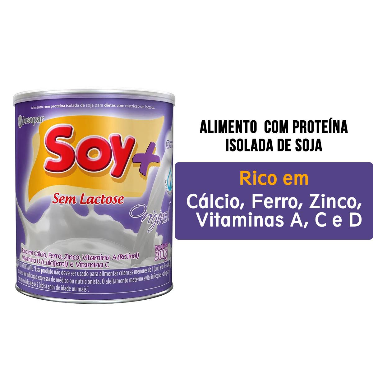Soy+ Original Alimento em pó com proteína isolada de soja 300g | Kit 3 Latas