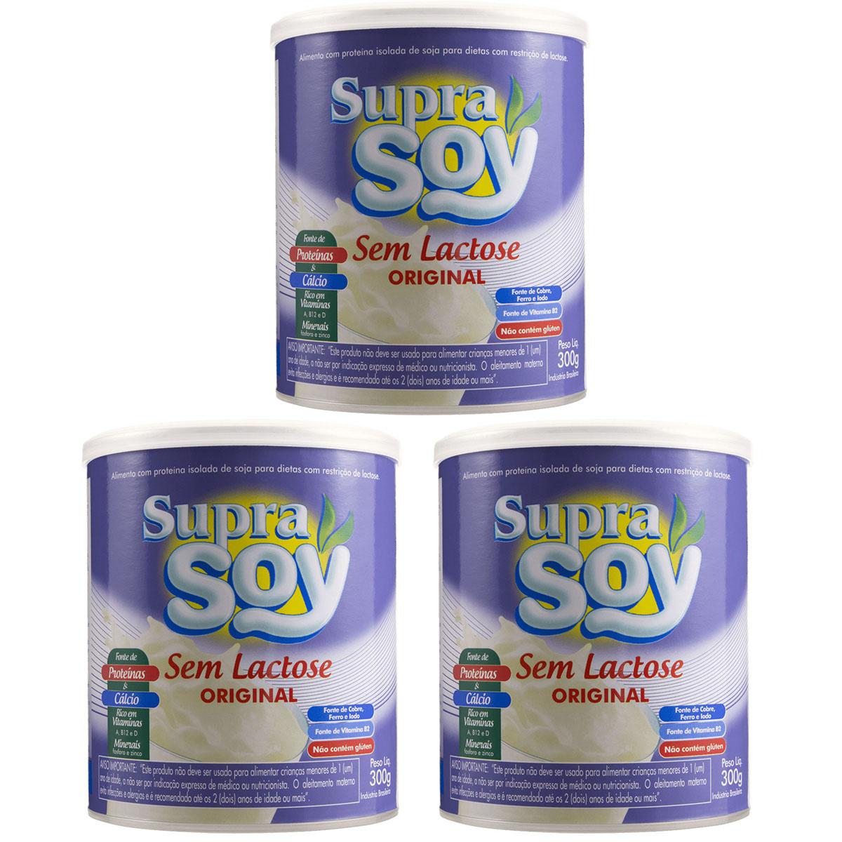 SupraSoy Alimento com Proteína Isolada de Soja 300g Sabor Original - Kit 3 Latas