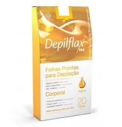 Folhas Prontas Para Depilação Depilflax Corporal Natural - 20 Unidades