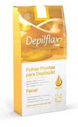 Folhas Prontas Para Depilação Depilflax Facial Natural - 24 Unidades