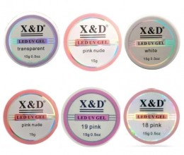 Kit c/ 6 Gel X&D - 15g (17 Nude + White + 18 Pink + Pink Nude + 19 Pink + Transparent )