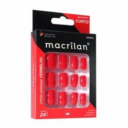 Unhas Postiças Macrilan Vermelho Curto - UP207A