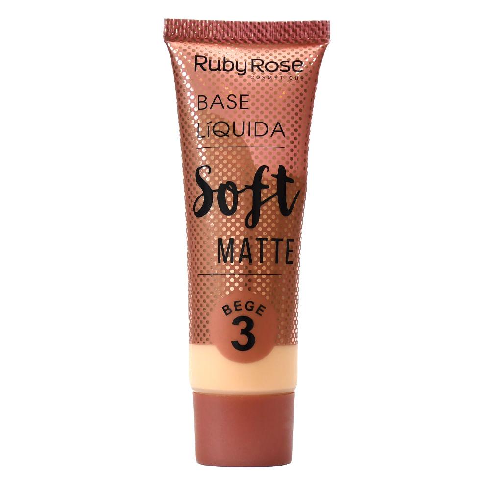Base Líquida Matte Ruby Rose Soft Bege 3 - 29ml