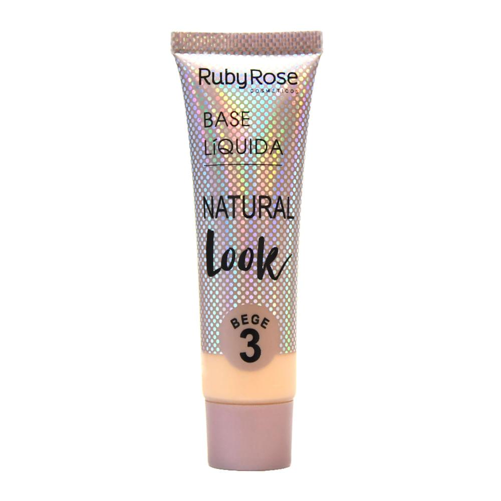 Base Líquida Ruby Rose Matte Natural Cor:Bege 3 - 29ml