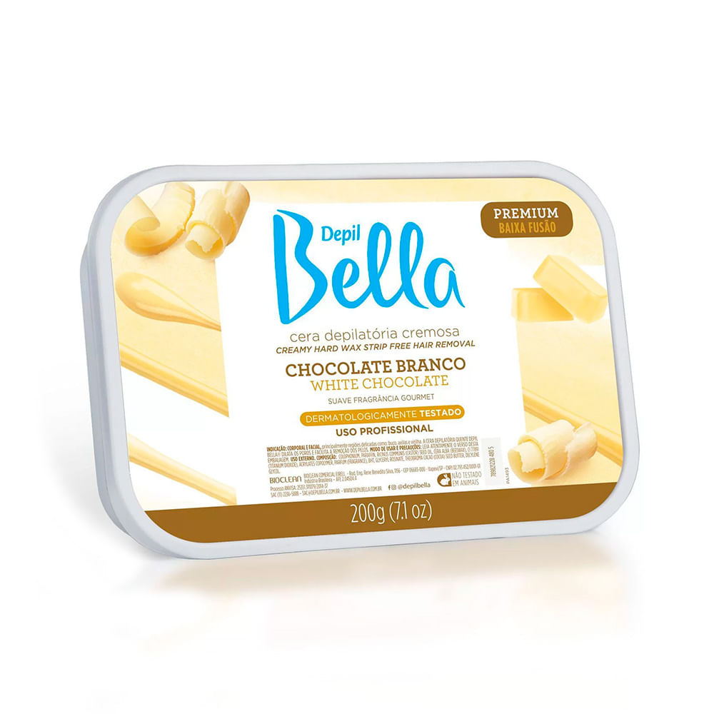 Cera Depilatória Quente Depil Bella Chocolate Branco - 200g