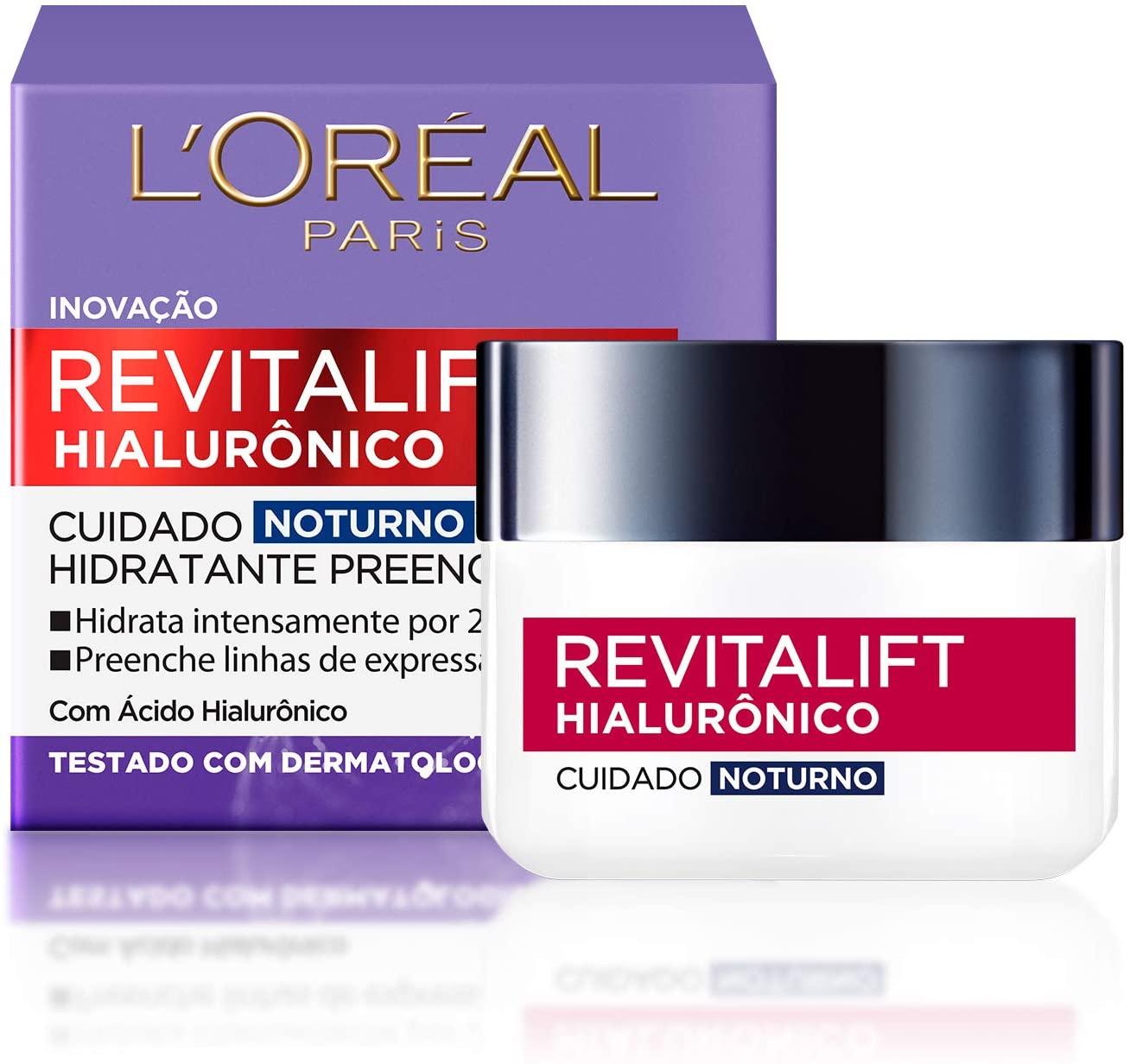 Creme Anti-idade L'Oréal Paris - Revitalift Hialurônico Noturno  FPS 20 - 49g