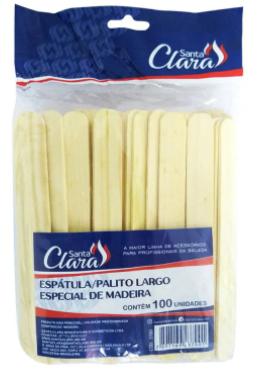 Espátula Para Depilação Santa Clara - Contém 100 Unidades - Madeira