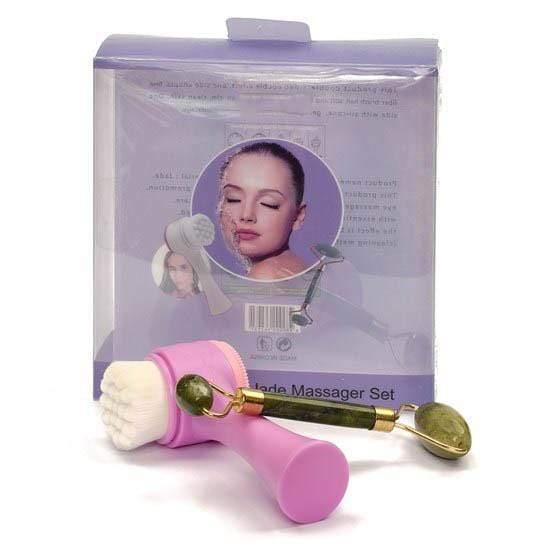 Kit Limpeza Facial - Pedra de Jade + Escova de Limpeza