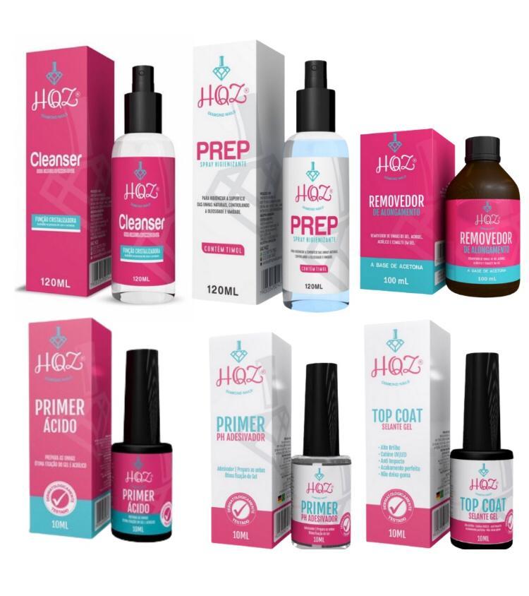 Kit Preparação e Finalização HQZ - Primer Ácido + Primer + Removedor + Top Coat + Prep+ Cleanser