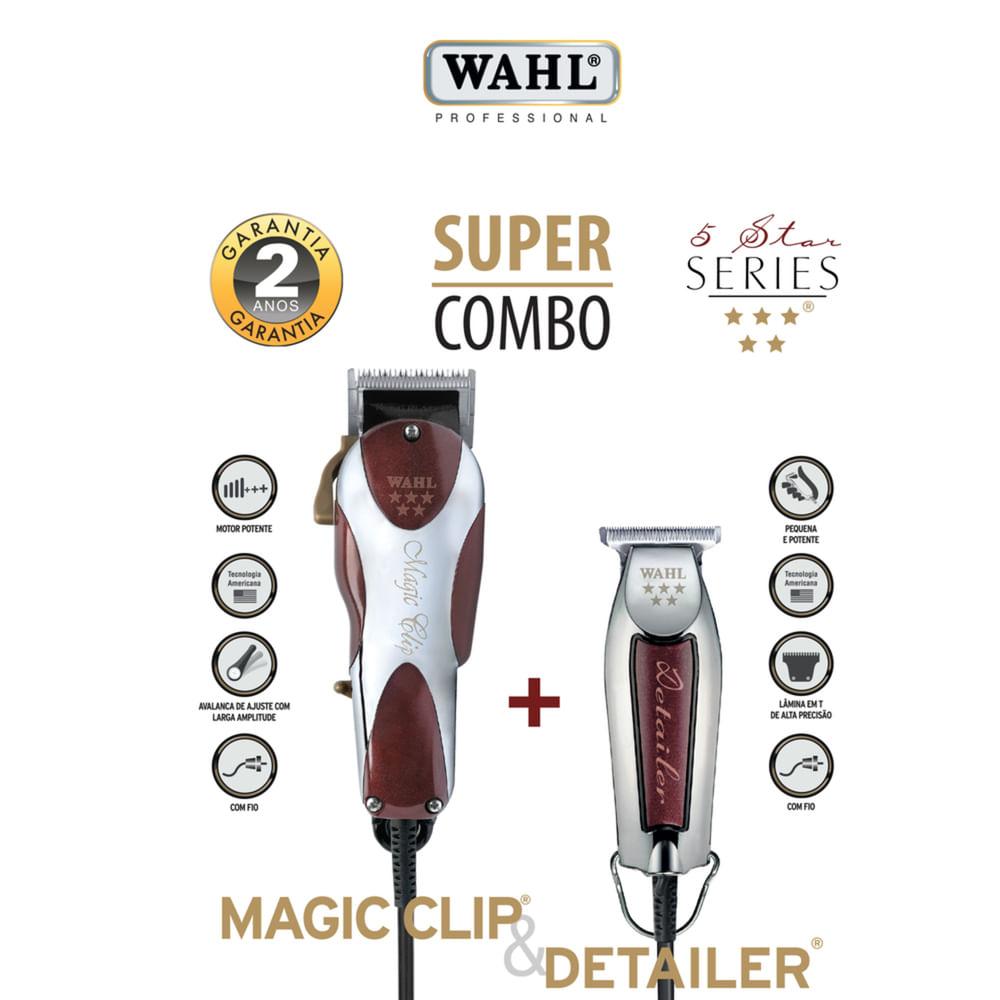 Super Combo Wahl Máquina de Corte Magic Clip + Máquina de Acamento Detailer Original