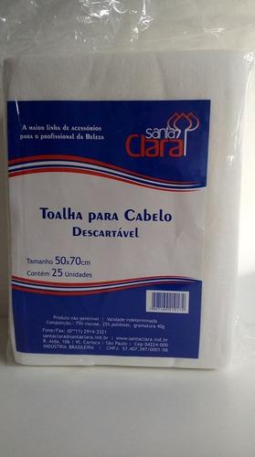 Toalha  Para Cabelo Descartável Santa Clara - Contém 25Unidades - Medida 50 x70 cm