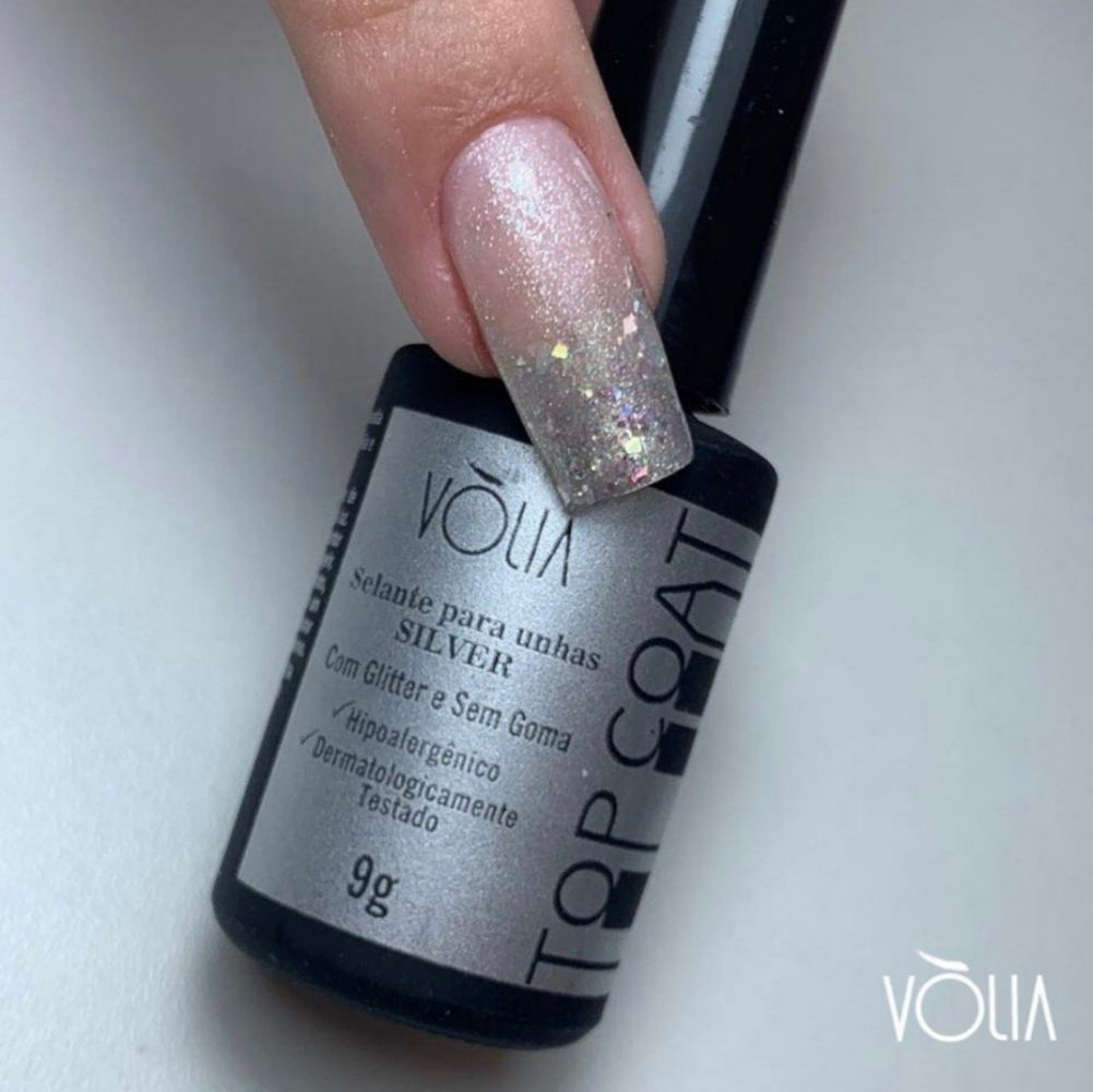 Top Coat Glitter Silver  Vòlia - 9g