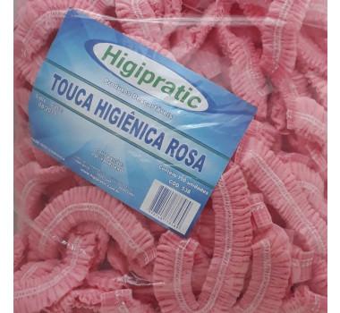 Touca Higiênica Rosa Higipratic - Contém 100 Unidades