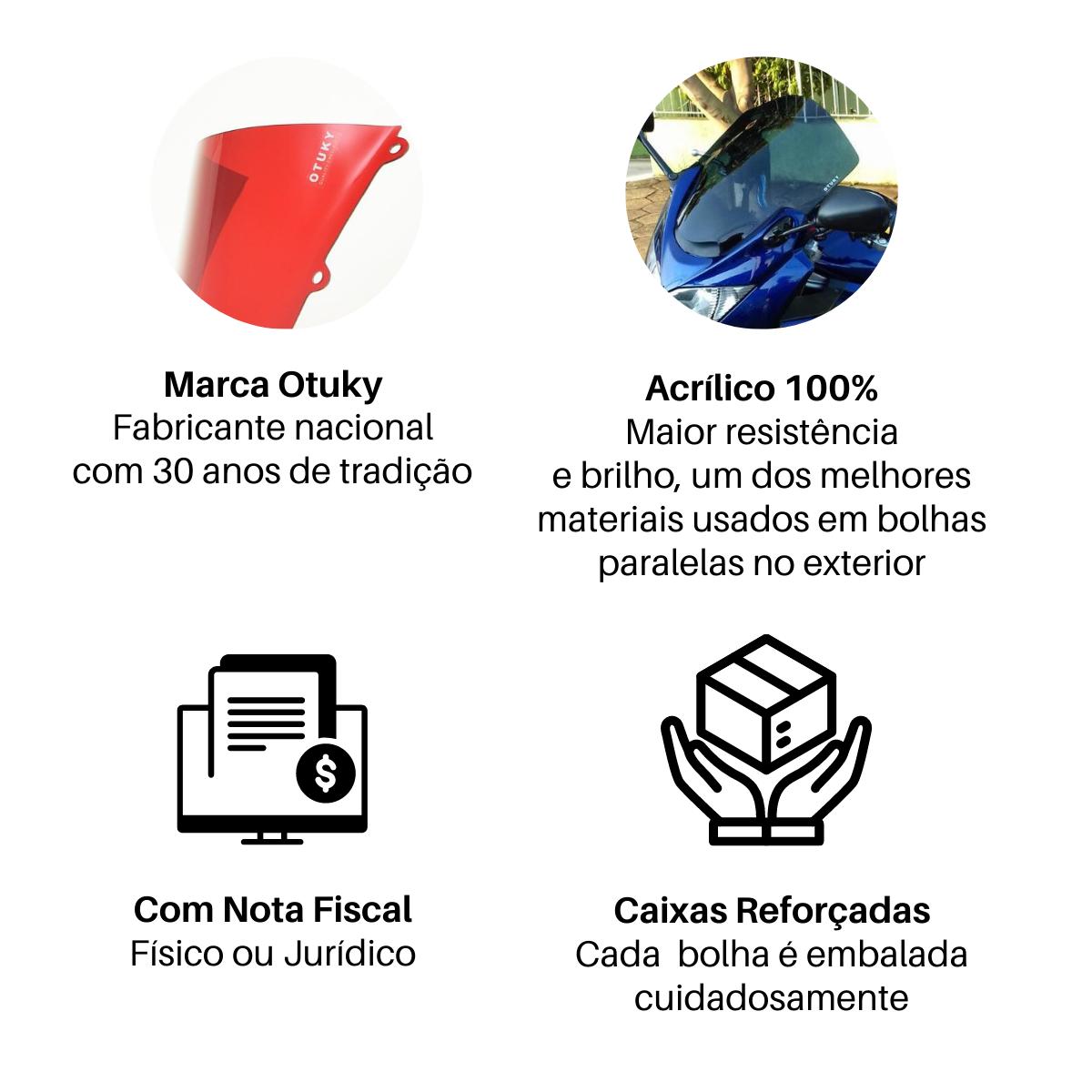 Bolha para Moto Ténéré 250 XTZ 2011 2012 2013 2014 2015 2016 2017 2018 Alongada +10cm Otuky