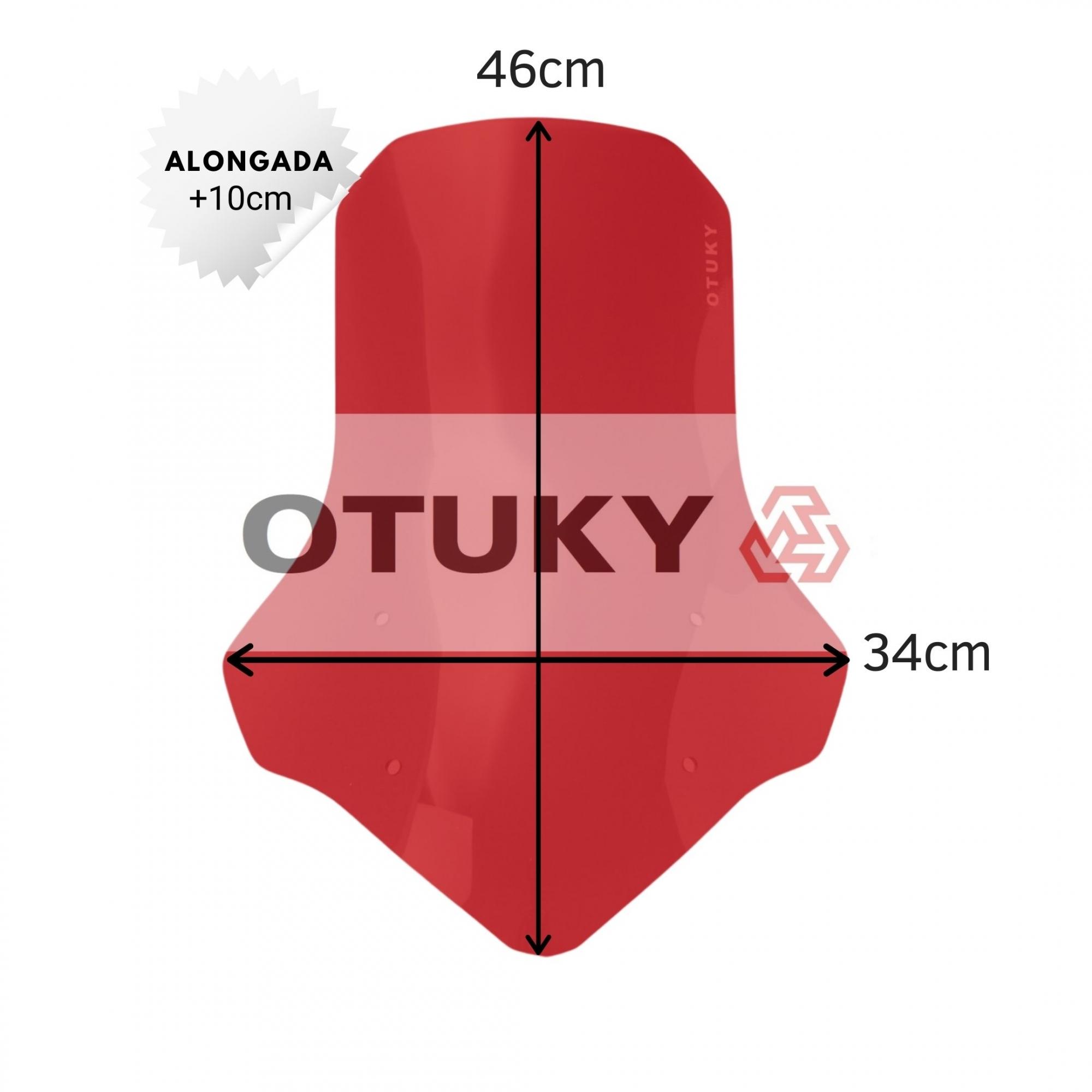 Bolha para Moto Ténéré 250 Xtz 2011 2012 2013 2014 2015 2016 2017 2018 Otuky Alongada 46cm Vermelho