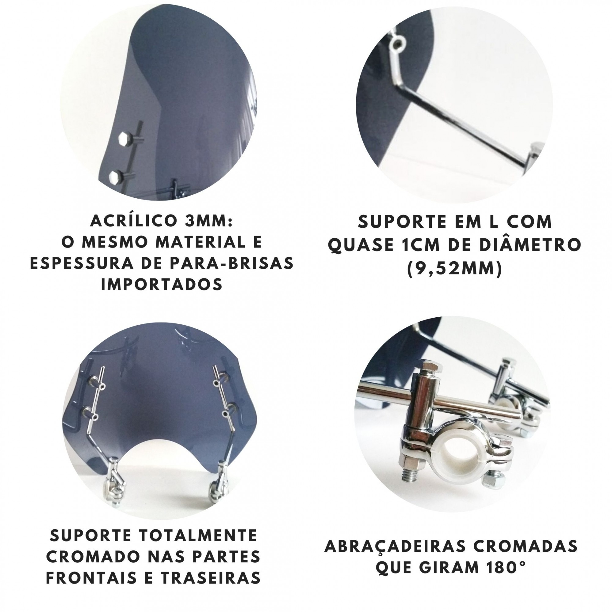 Parabrisa Universal Suporte Cromado blackstar fenix AJ700 Fumê Cinza