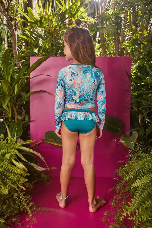 Biquíni infantil e blusa manga longa com proteção UV - Tam 2 a 12 anos