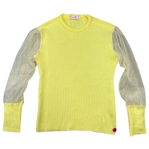 Blusa Amarela Tule em Poliéster - Tam 08 a 12 anos