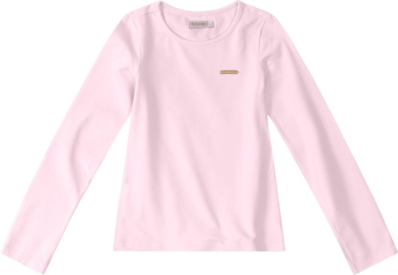 Blusa básica manga longa em algodão - Tam 02 a 16 anos