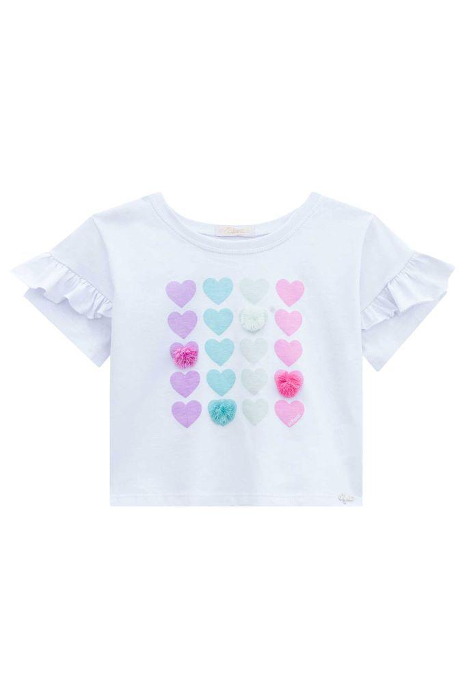 Blusa infantil menina pompom em algodão - Tam 6 a 12 anos