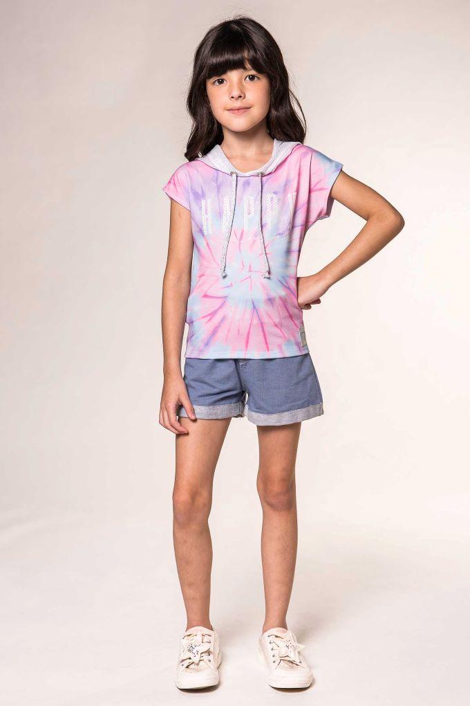 Blusa infantil menina Tie Day -Tam 6 a 12 anos