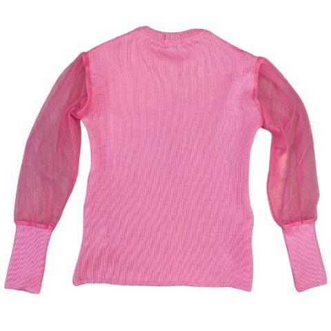 Blusa Rosa Tule em Poliéster - Tam 08 a 12 anos