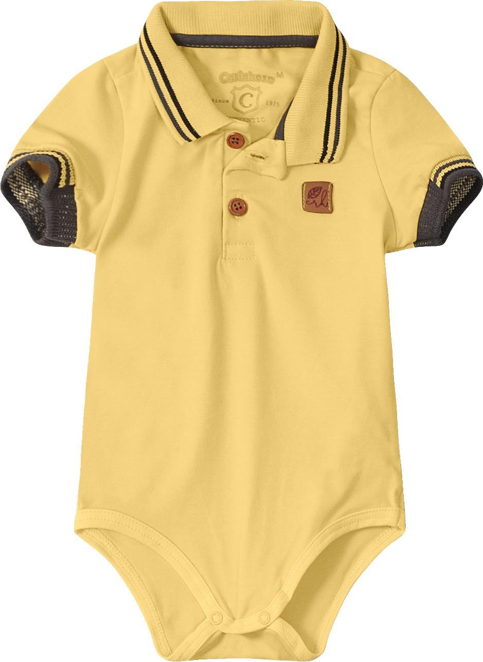 Body Polo Amarelo em Algodão - Tam 01 a 03 anos