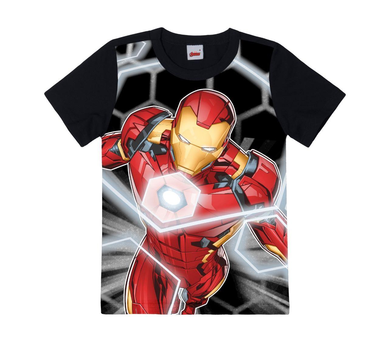 Camiseta básica do Homem de ferro - Tam 4 A 12 ANOS