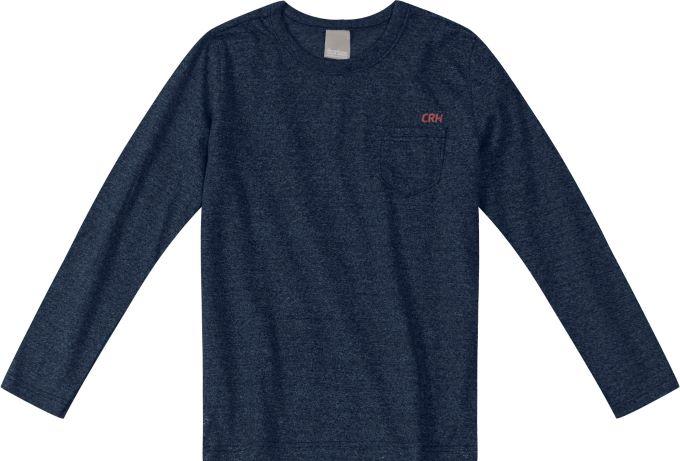 Camiseta básica manga longa com bolso - Tam 04 anos