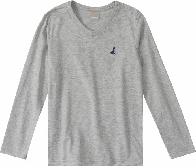 Camiseta básica manga longa Gola V - Tam 01 a 16 anos