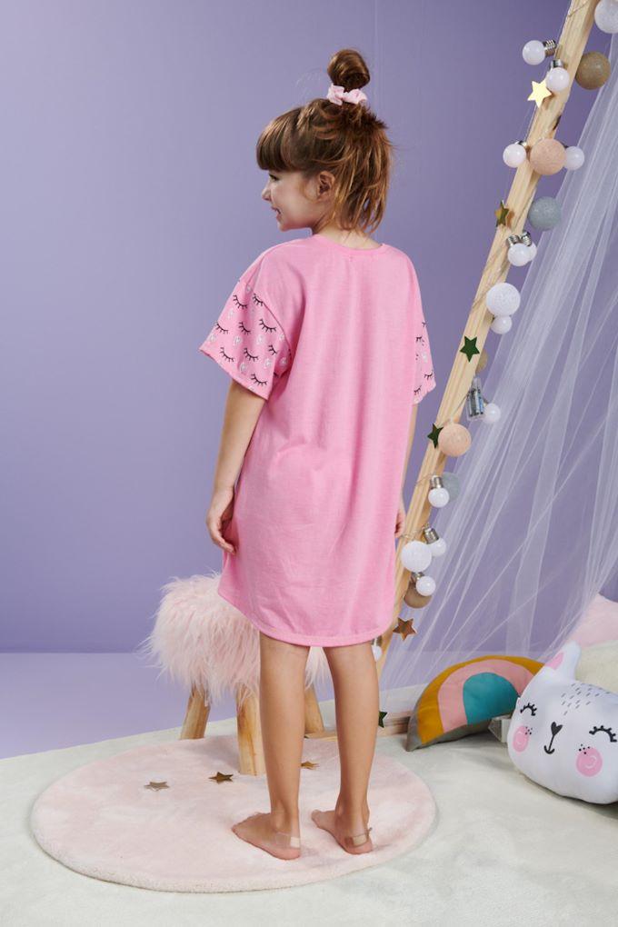 Camisola infantil rosa em algodão - Tam 4 a 10 anos