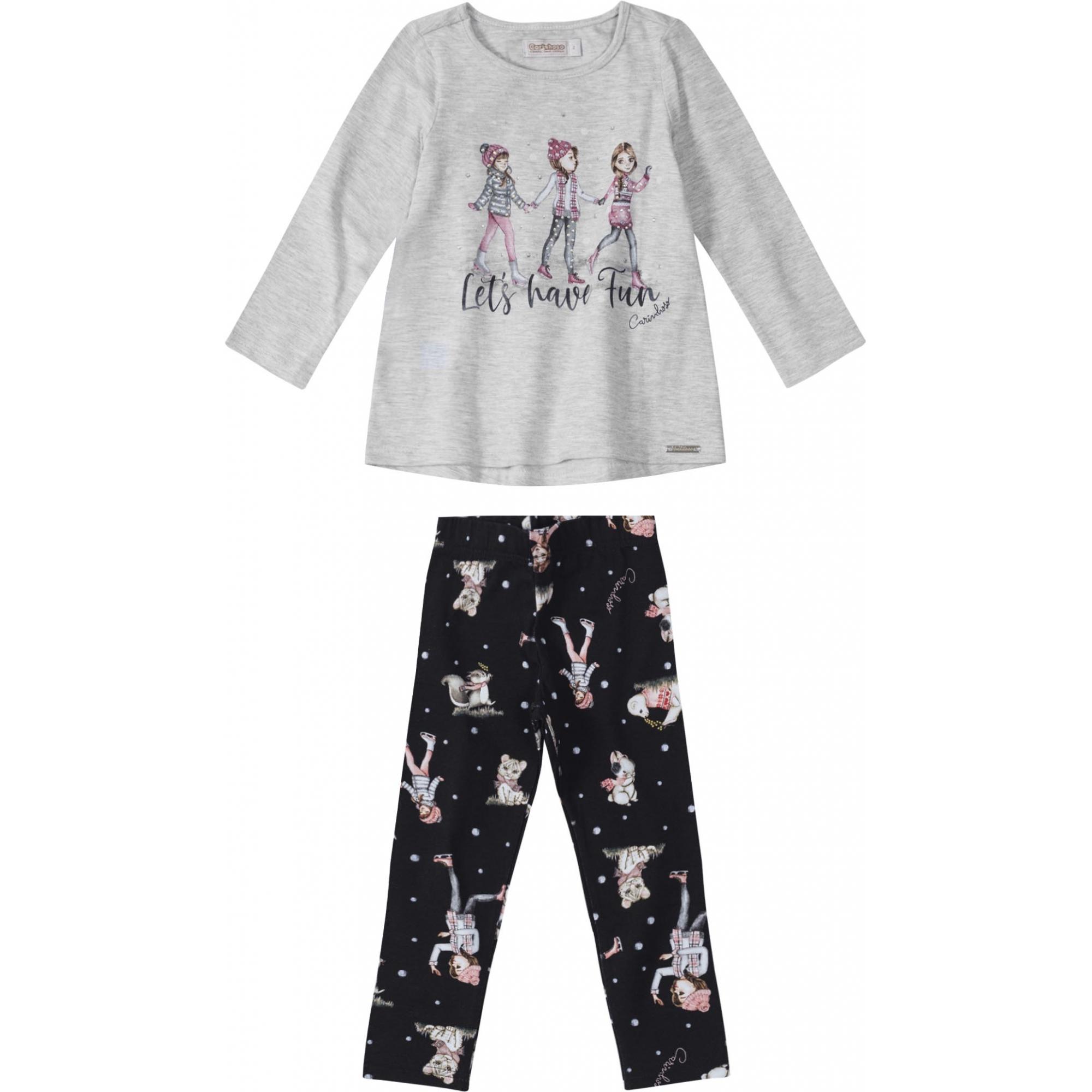 Conjunto Blusa Manga Longa e calça Preta Estampada  - Tam 2 anos