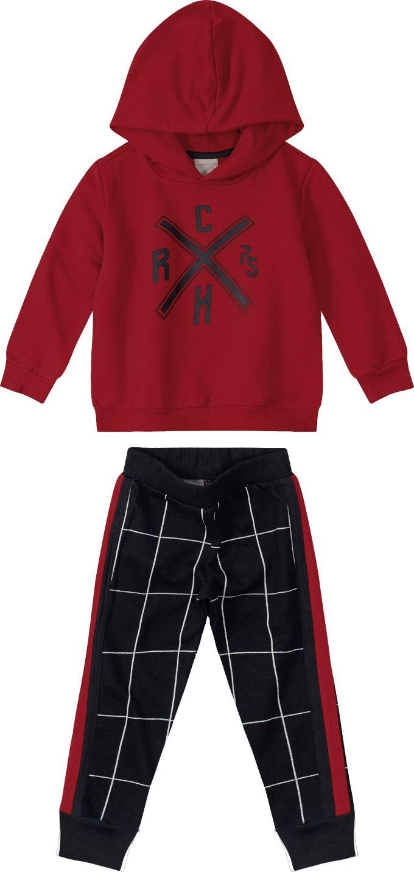 Conjunto Blusão com Capuz Vermelho e Calça Xadrez  – Tam 16 anos