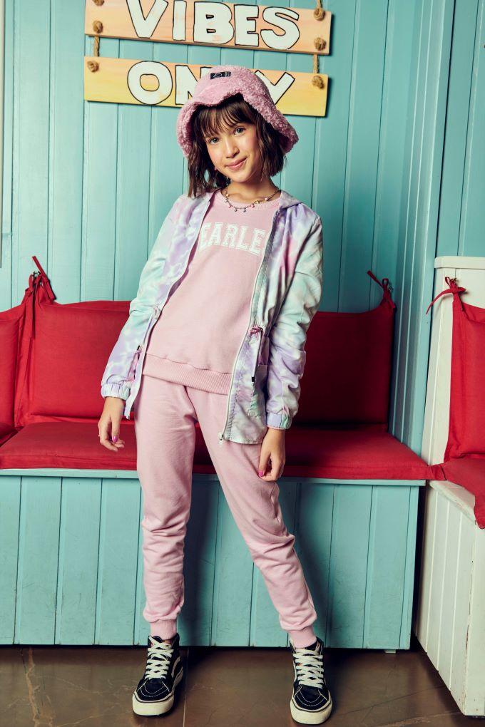 Conjunto Blusão e Calça  Rosa - Tam 10 a 16 anos