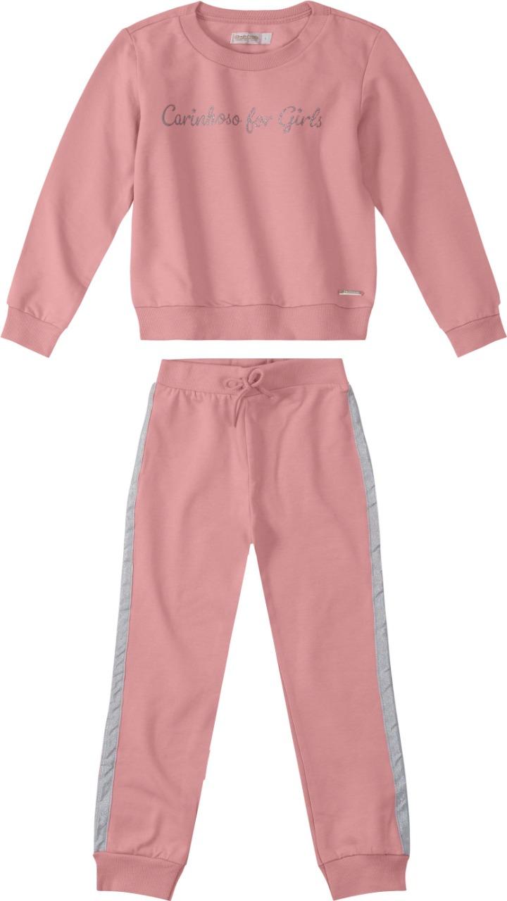 Conjunto Blusão e Calça em Moletom rosé - Tam 04 a 08 anos