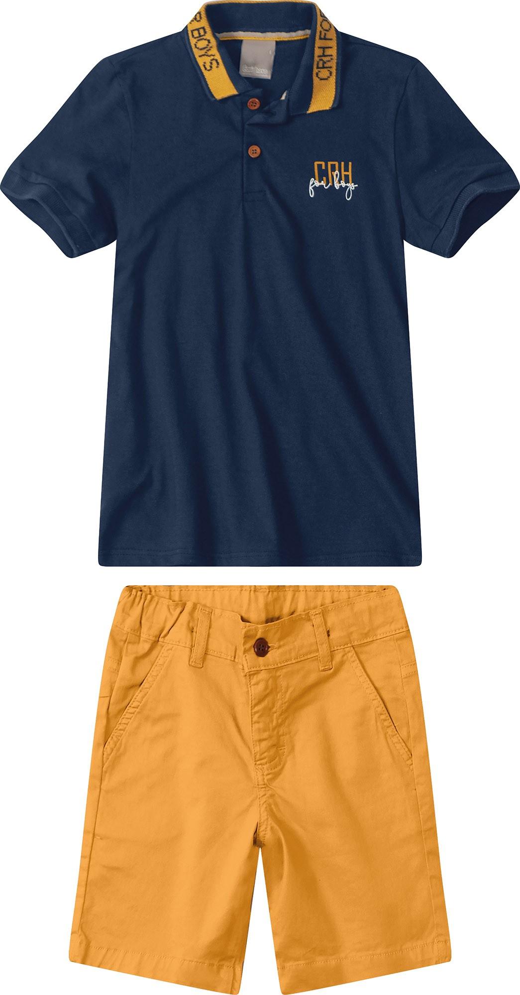 Conjunto Camisa Polo Azul Marinho com Bermuda Mostarda - Tam 04 a 08 anos