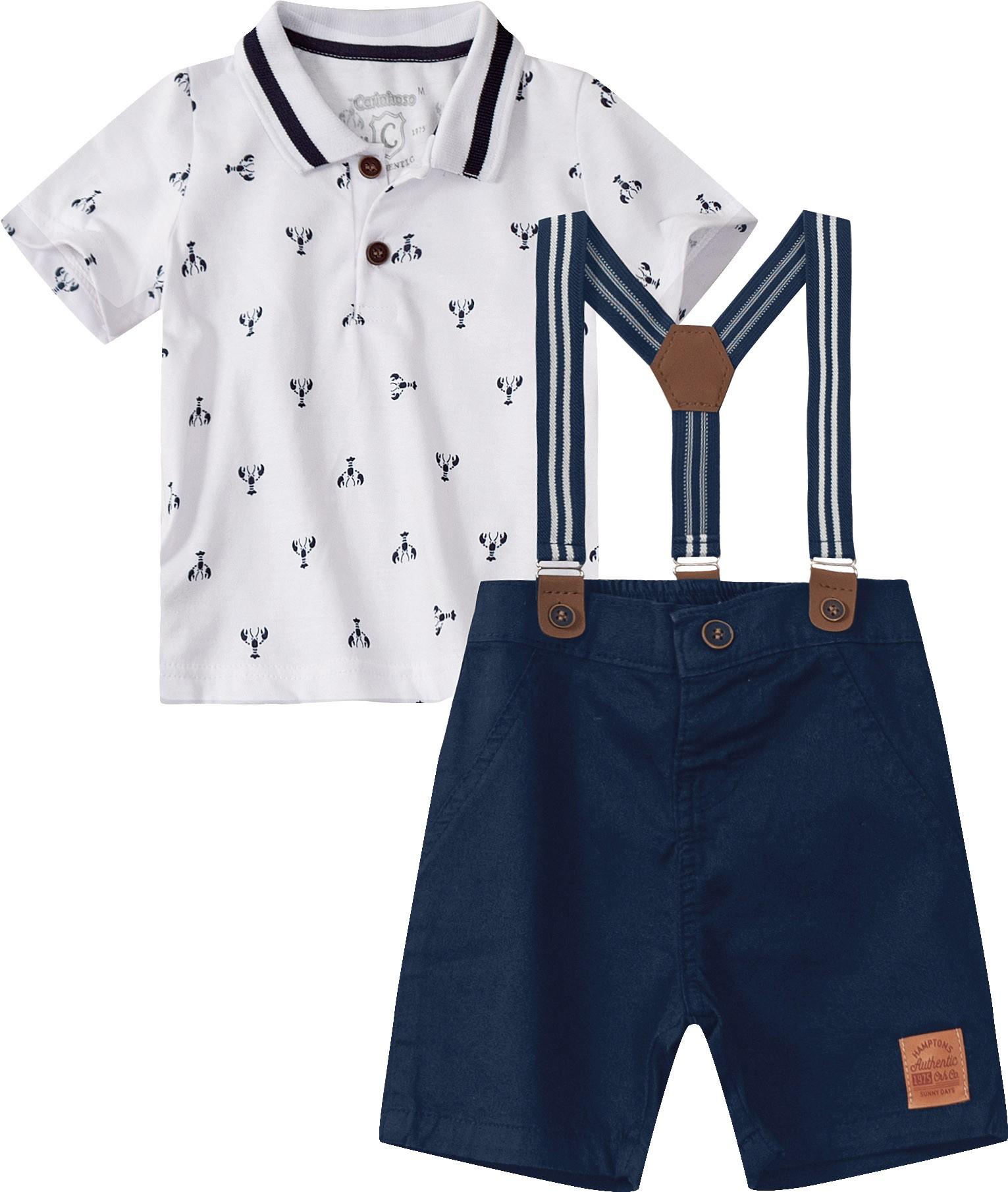 Conjunto Camisa Polo Branca com Bermuda Azul Marinho - Tam 01 a 03 anos