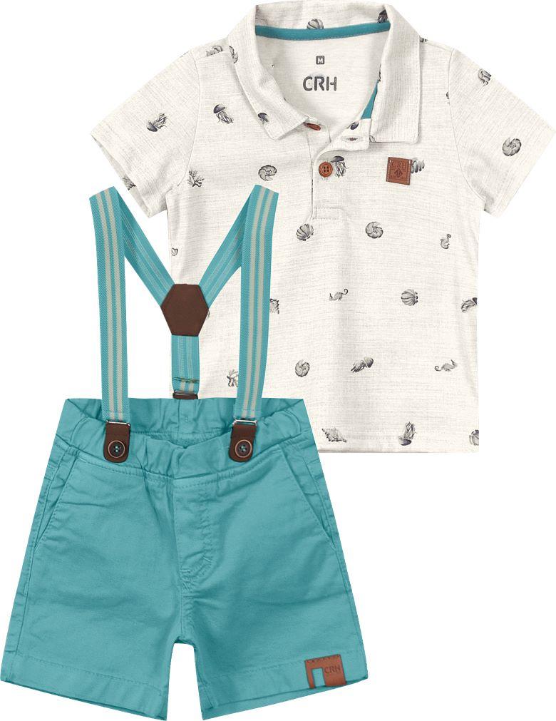 Conjunto Camisa Polo Branca com Bermuda Azul Marinho Algodão - Tam G a 2 anos