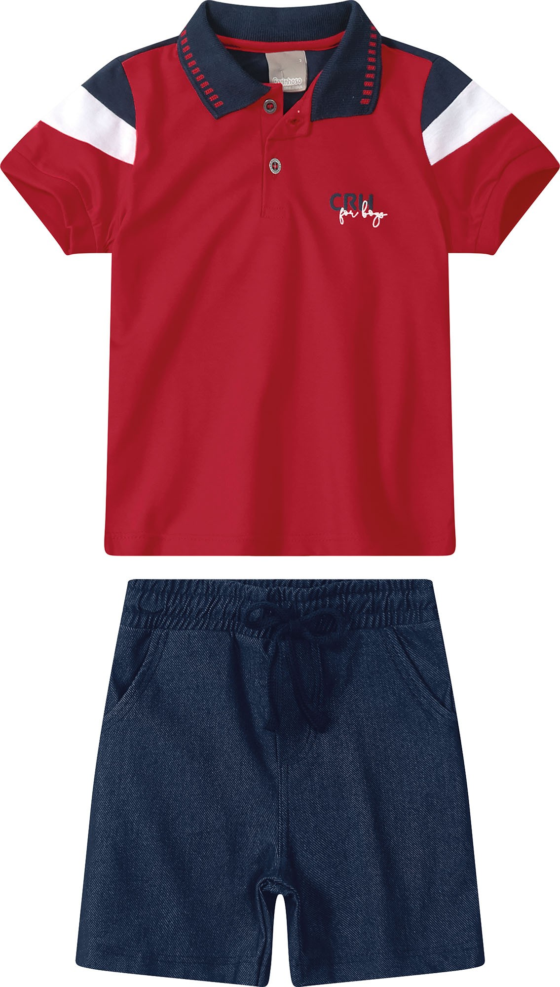 Conjunto Camisa Polo Vermelha com Bermuda Azul marinho - Tam 04 a 08 anos