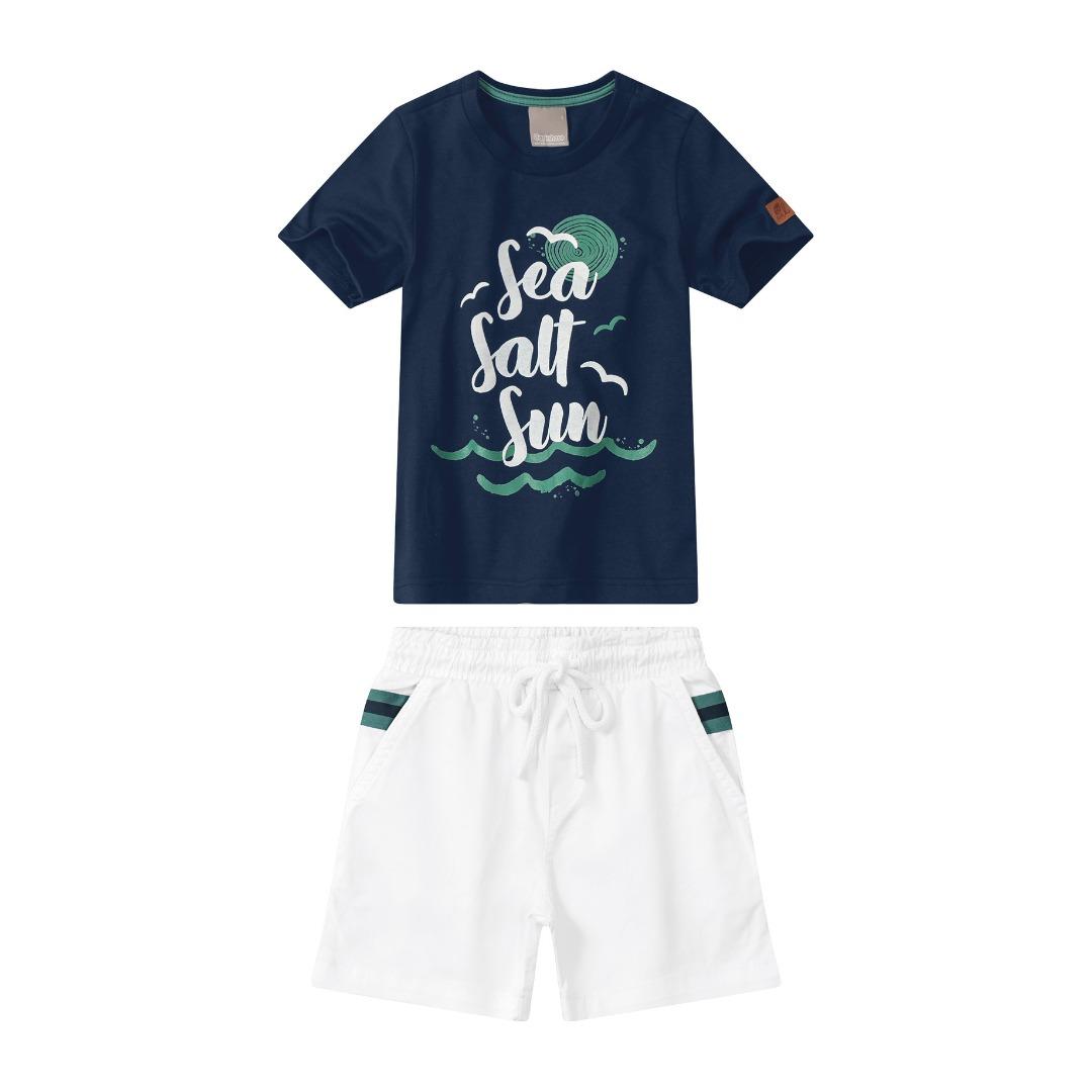Conjunto Camiseta Azul Marinho com Bermuda Branca - Tam 04 a 08 anos