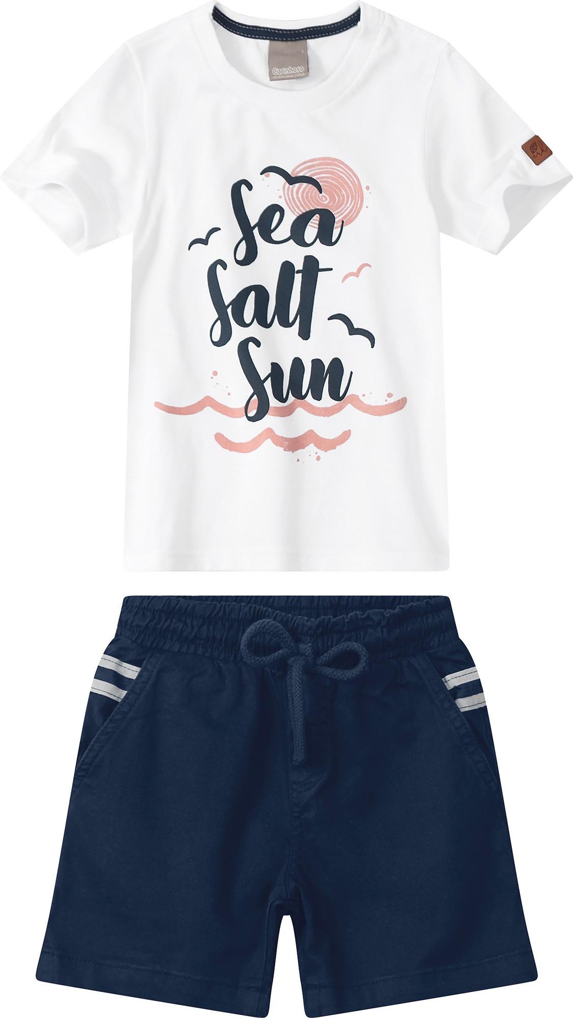 Conjunto Camiseta Branca com Bermuda Azul Marinho - Tam 01 a 03 anos