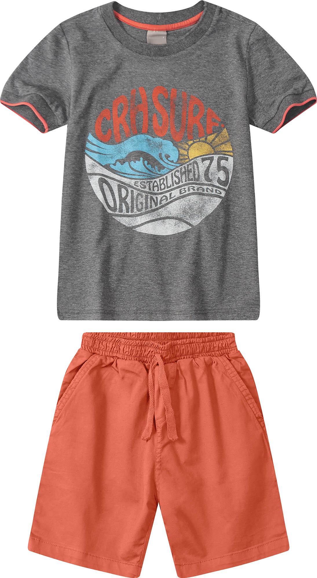 Conjunto Camiseta Cinza com Bermuda Laranja - Tam 04 e 06 anos