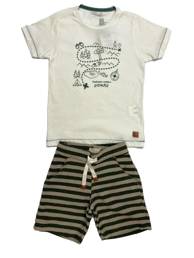 Conjunto Camiseta e Bermuda Árvores  Tam 04 e 06 anos
